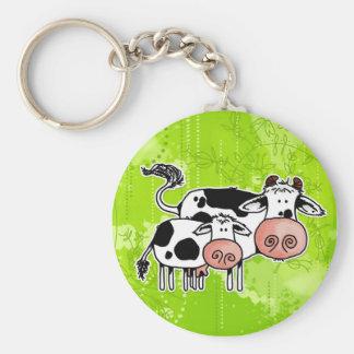 vaca y becerro llavero redondo tipo pin
