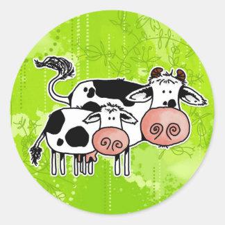 vaca y becerro pegatinas redondas