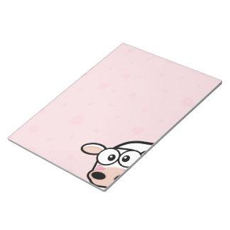 """Vaca y corazones de ruborización 11"""" x 8,5"""" libret blocs de notas"""