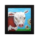 Vaca y girasoles caja de regalo