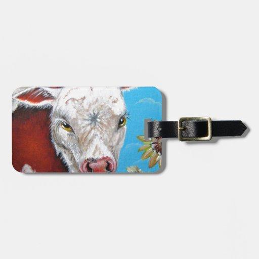 Vaca y girasoles etiquetas bolsa