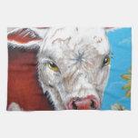 Vaca y girasoles toallas