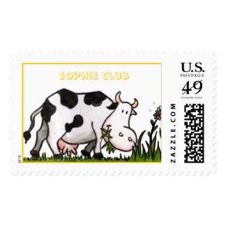 Vaca y margaritas felices sello