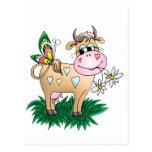 Vaca y mariposa lindas postales