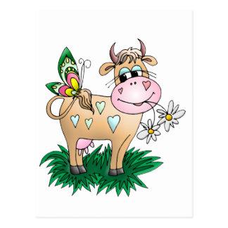 Vaca y mariposa lindas tarjetas postales