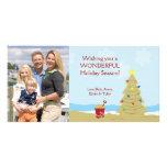 Vacaciones 8x4 del castillo de la arena del árbol  tarjeta fotográfica personalizada