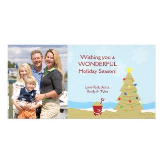 Vacaciones 8x4 del castillo de la arena del árbol  tarjeta con foto personalizada