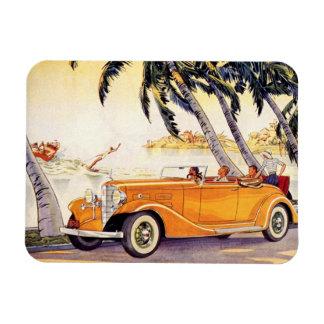 Vacaciones de familia del vintage en un coche imanes