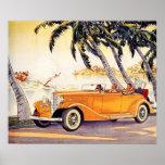 Vacaciones de familia del vintage en un coche póster