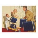 Vacaciones de familia del vintage, maletas de los invitacion personalizada