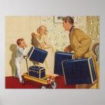 Vacaciones de familia del vintage, maletas de los  impresiones