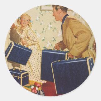 Vacaciones de familia del vintage, maletas de los pegatina redonda