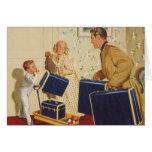 Vacaciones de familia del vintage, maletas de los felicitacion