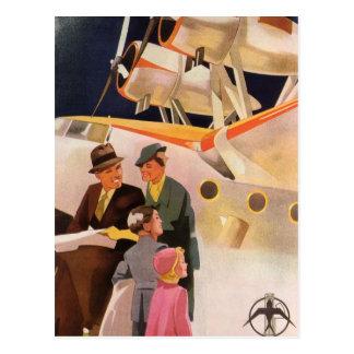 Vacaciones de familia del vintage vía los propulso postal