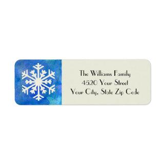 Vacaciones de invierno azules de la acuarela del etiqueta de remite