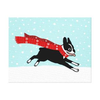 Vacaciones de invierno Boston Terrier que lleva la Impresión En Tela