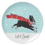 Vacaciones de invierno Boston Terrier que lleva la Plato