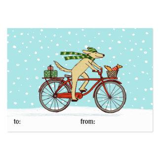 Vacaciones de invierno caprichosas de ciclo del tarjetas de visita grandes