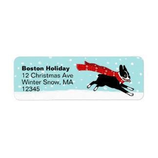 Vacaciones de invierno de Boston Terrier Etiqueta De Remite
