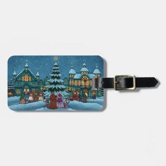 vacaciones de invierno de la ciudad del navidad etiqueta de maleta