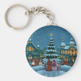 vacaciones de invierno de la ciudad del navidad llavero redondo tipo pin