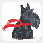 Vacaciones de invierno de Terrier del escocés Colcomanias Cuadradas Personalizadas
