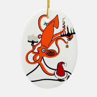 Vacaciones de invierno del calamar ornamento de reyes magos