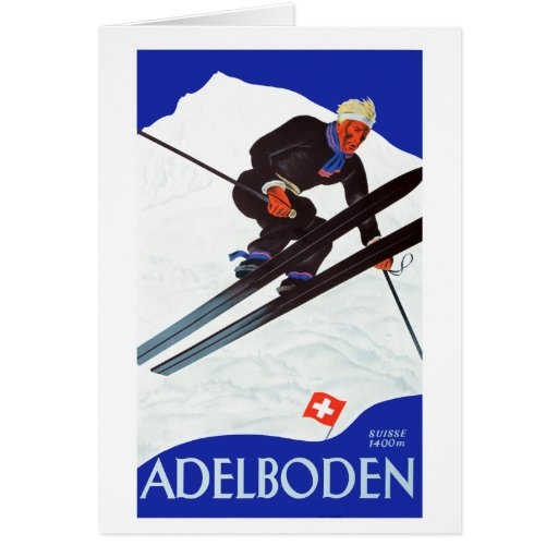 Vacaciones de invierno - esquí del vintage tarjeta de felicitación