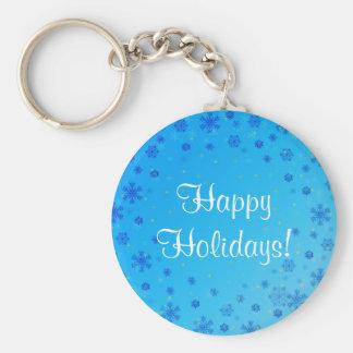 Vacaciones de invierno felices fijadas - azul llavero