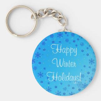 Vacaciones de invierno felices fijadas - azul llavero personalizado