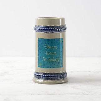 Vacaciones de invierno felices fijadas - azul tazas de café