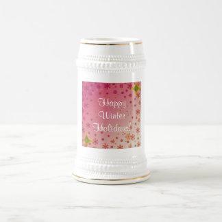 Vacaciones de invierno felices fijadas - rosa tazas de café