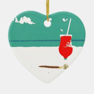 ¡Vacaciones de la playa! Adorno Navideño De Cerámica En Forma De Corazón