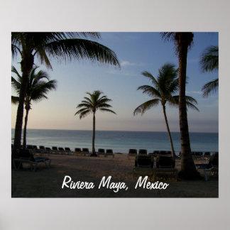 Vacaciones de la playa de Cancun México del maya d Póster