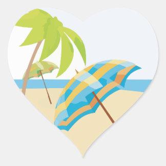 Vacaciones de la playa pegatina en forma de corazón