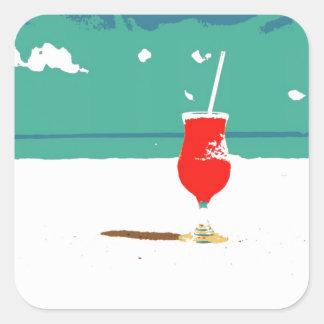 ¡Vacaciones de la playa! Pegatina Cuadrada