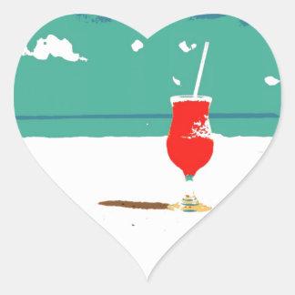 ¡Vacaciones de la playa! Pegatina En Forma De Corazón