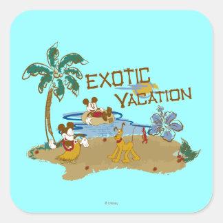 Vacaciones de Mickey Mouse Pegatina Cuadrada
