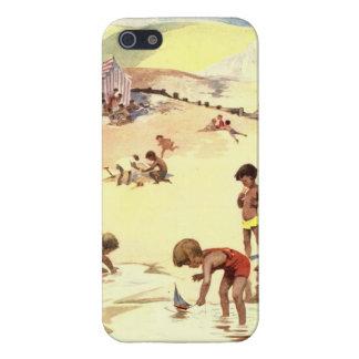 Vacaciones de verano del vintage en la playa iPhone 5 cárcasas