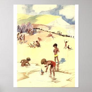 Vacaciones de verano del vintage en la playa póster