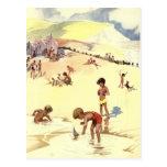 Vacaciones de verano del vintage en la playa tarjeta postal
