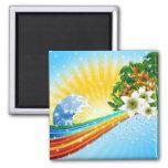 Vacaciones de verano exóticas tropicales imanes de nevera