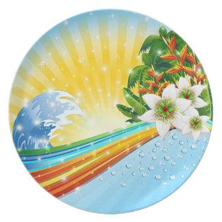 Vacaciones de verano exóticas tropicales plato de comida