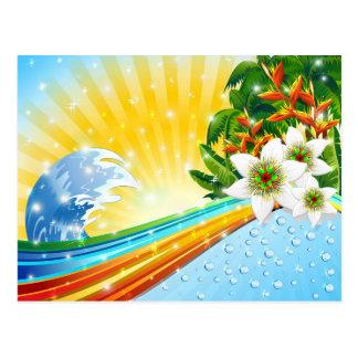 Vacaciones de verano exóticas tropicales postal