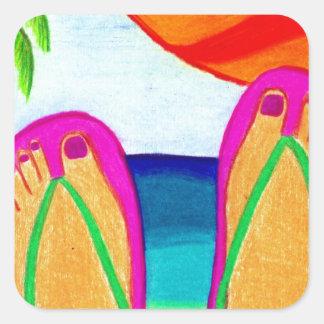 Vacaciones de verano calcomanía cuadrada