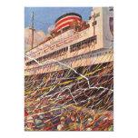 Vacaciones del barco de cruceros del vintage; invitaciones personales