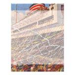 Vacaciones del barco de cruceros del vintage; plantilla de membrete