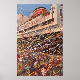 Vacaciones del barco de cruceros del vintage; póster