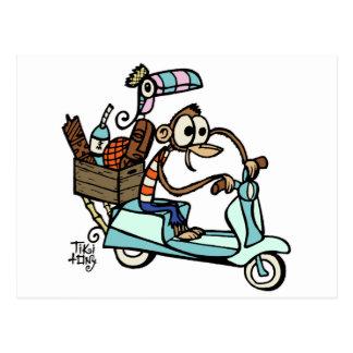 ¡Vacaciones del Beachcomber del mono del ciclomoto Tarjetas Postales