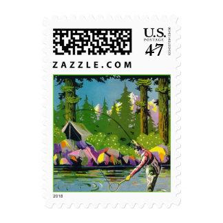 Vacaciones del campo de la pesca con mosca idas a sello postal
